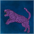 Jumping panther, purple color