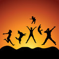 Jumping people Royalty Free Stock Photo