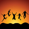 Jumping people Royalty Free Stock Images