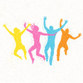 Jumping people mosaic vector illustration Royalty Free Stock Photo