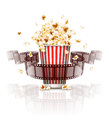 Jumping popcorn and film strip film eps illustration on white background Stock Images