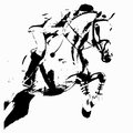 Jumping rider and horse a sketch of abstraction the contour on white background Royalty Free Stock Images