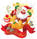 Jumping Rudolph and Santa Royalty Free Stock Photography