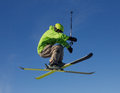Jumping skier Royalty Free Stock Photo