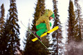 Jumping skier at jump inhigh mountains at sunny day Stock Images