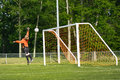 Jumping soccer goalie image of getting scored on Royalty Free Stock Photos