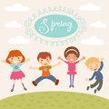 Jumping spring kids illustration of in Royalty Free Stock Photos