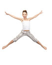 Jumping teenage girl bright picture of happy Stock Images