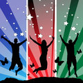 Jumping teens vector illustration  Royalty Free Stock Images