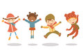 Jumping winter kids Royalty Free Stock Photos