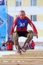 Jumps through sledge nadym russia march competitions in the nenets national sport on a traditional holiday day of the reindeer Stock Image