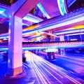 Junction with light in Hongkong Stock Photo