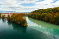 Junction of the rhone and arve two rivers in autumn in geneva switzerland river on left is which is just Stock Photography