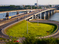 Junction of the roads to the bridge diorama till shift city view cars on two bridges old and new city kemerovo russia Royalty Free Stock Photography