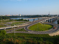 Junction of roads with two rings and a bridge transportation over the river the tom kemerovo russia Stock Photography