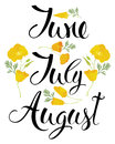 June july august the california poppy and calligraphy handwriting Stock Photos
