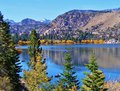 June lake the was such a pretty color of blue this is in the mammoth lakes region along the other side of the you can see a Royalty Free Stock Photography