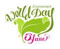 June world environment day abstract leaf and lettering text for greeting card on white vector illustration Royalty Free Stock Images