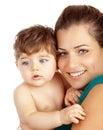 Junge Mutter mit Sohn Stockfotos