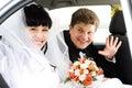 Junge Paare im Auto Lizenzfreies Stockbild