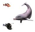 Junger delphin mönch fische und clown fische lokalisierte realistische illustration auf weißem hintergrund Lizenzfreie Stockfotos