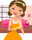 Junges glückliches Mädchen setzte an Hand gelben Gummihandschuh Lizenzfreie Stockfotos