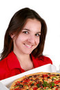 Junges Mädchen mit einer Pizza Stockfotografie
