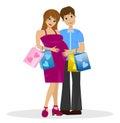 Junges verheiratetes paar im anwärter des kindes mit kauf Stockbild