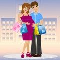Junges verheiratetes paar im anwärter des kindes mit kauf Stockbilder