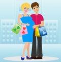 Junges verheiratetes paar im anwärter des kindes mit kauf Lizenzfreies Stockfoto