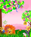 Jungle animal scene illustration with animals a lion monkey mouse and bees brightly colored Stock Photography