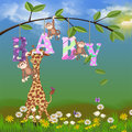 Jungle animals for baby girl giraffe and monkeys in daisies birth announcement Stock Photo