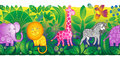 Jungle animals border.
