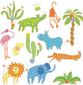 Jungle animals set Stock Images