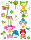 Jungle animals set Royalty Free Stock Photo
