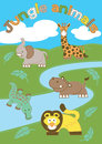 Jungle animals vector illustration of cute in the wild Royalty Free Stock Photo