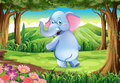 A jungle with a blue elephant illustration of Royalty Free Stock Photos
