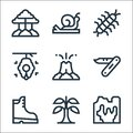 jungle line icons. linear set. quality vector line set such as cave, banana, boots, volcano, beehive, centipede, snail Royalty Free Stock Photo