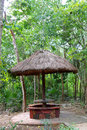 Jungle palapa hut sunroof in Mexico Mayan riviera Stock Images