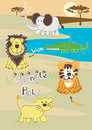 Jungle pals vector illustration of cute animals in the wild Stock Images
