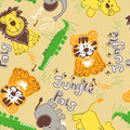 Jungle pals wild animals seamless pattern Stock Images