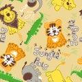 Jungle pals wild animals seamless pattern Stock Images