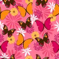 Jungle seamless pattern with butterflies on pink background