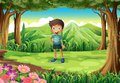 A jungle with a smiling little boy illustration of Royalty Free Stock Photography