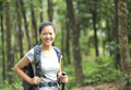 Jungle woman hiker young asian hiking in forest Stock Photos
