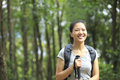 Jungle woman hiker young asian hiking in forest Royalty Free Stock Photo