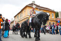 Juni parade in brasov celebration of city days and horseman on Royalty Free Stock Photos