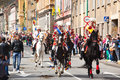 Juni parade on brasov city days celebration of and horseman poarta schei street Stock Images