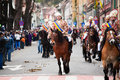 Juni parade on brasov city days celebration of and horseman poarta schei street Stock Photo