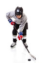 Junior Ice Hockey Player Isolated on White Background Royalty Free Stock Photo